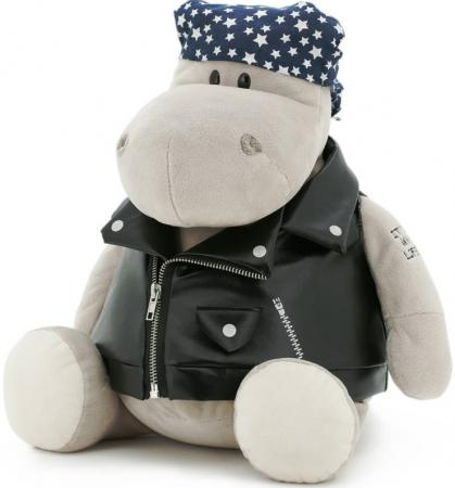 где купить Мягкая игрушка бегемотик ORANGE Байкер 30 см серый плюш MS6102/30 по лучшей цене