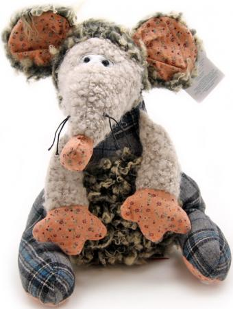 Мягкая игрушка мышка Jackie Chinoco Томас 27 см серый искусственный мех текстиль  60686B/10,5