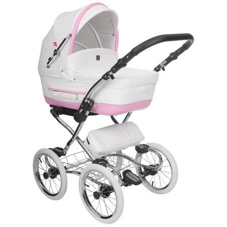 Коляска 2-в-1 Tutek Turran Silver ECO (цвет белый-розовый/шасси Prestige Silver) коляска детская tutek timer 2 в 1