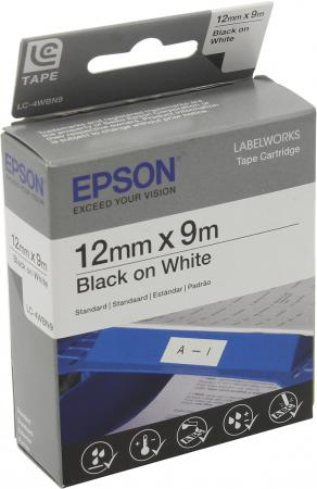 Лента Epson LC-4WBN9 C53S654021 free shipping compatible epson kingjim tape 12mm black on white ss12kw lc 4wbn lc 4wbn9 epson label tape for lw300 and lw400