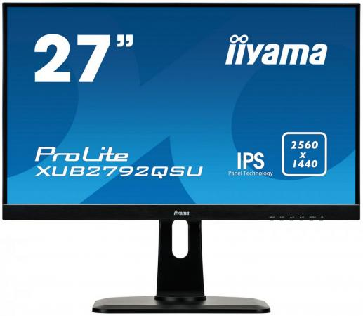 "Монитор 27"" iiYama XUB2792QSU-B1 черный IPS 2560x1440 350 cd/m^2 5 ms DVI HDMI DisplayPort Аудио USB iiyama gb2488hsu b2 24 черный dvi hdmi full hd"