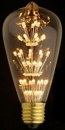 Лампа светодиодная E27 3W колба прозрачная ST64-47LED винтажная лампа эдисон steeple squirrel cage st64 19 нитей