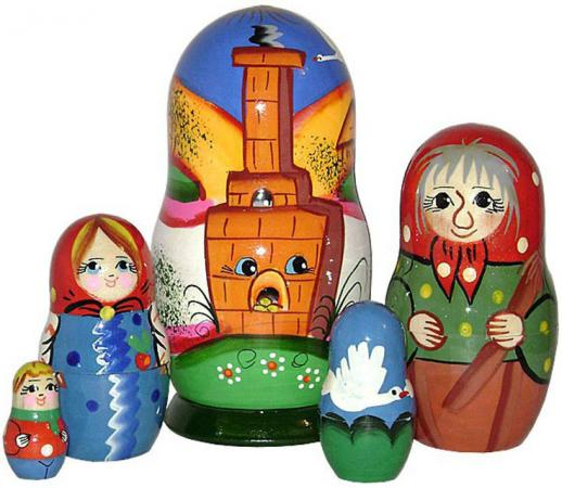Развивающая игрушка Бэмби матрешка «Гуси-лебеди» Р-45/741 деревянные игрушки бэмби матрешка гуси лебеди