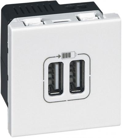 Розетка Legrand USB для зарядки двойная белый 77594