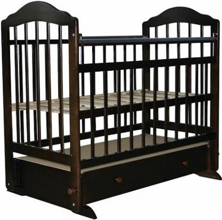 Кроватка с маятником Briciola 11 (с ящиком/темная) кроватка трансформер ведрусс раиса с маятником темная