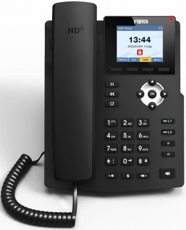 Телефон IP Fanvil X3S 2 линии 2x10/100Mbps цветной LCD телефон ip grandstream gxp1628 2 линии 2 sip аккаунта 2x10 100 1000mbps lcd poe blf неисправное оборудование