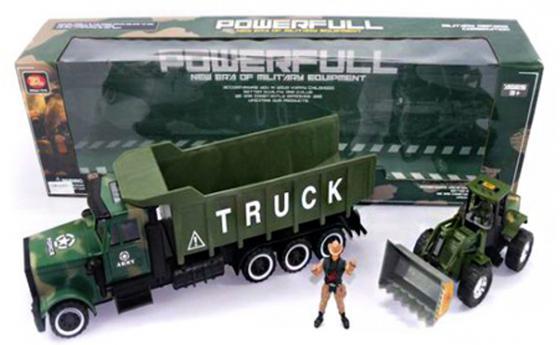 Трактор Shantou Gepai Военный трак с трактором 3 шт 70 см зеленый ZL668-A18 трактор tomy john deere зеленый 19 см с большими колесами звук свет