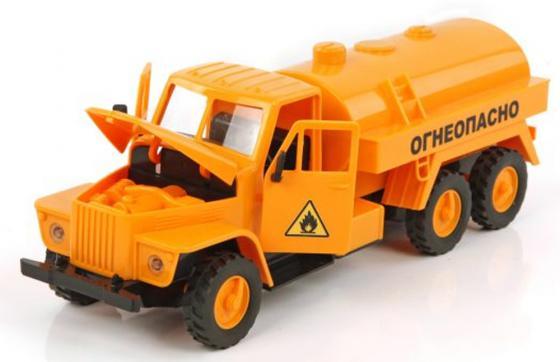 Бензовоз Пламенный мотор Спецтранспорт - Огнеопасно 33 см оранжевый свет, звук 870036 пламенный мотор машинка инерционная volvo пожарная охрана