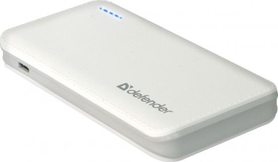 Портативное зарядное устройство Defender Tesla 5000 5V/2А USB 5000 mAh белый 83638 зарядное устройство duracell cef14 аккумуляторы 2 х aa2500 mah 2 х aaa850 mah