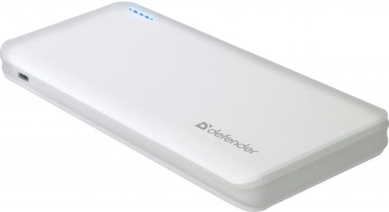 Портативное зарядное устройство Defender Tesla 10000 5V/2А USB 10000 mAh белый 83639 зарядное устройство duracell cef14 аккумуляторы 2 х aa2500 mah 2 х aaa850 mah