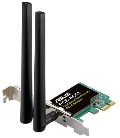 Беспроводной PCI-E адаптер ASUS PCE-AC51 802.11ac 433Mbps 2.4 или 5ГГц беспроводной адаптер asus pce n15