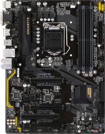 Материнская плата GigaByte GA-Z270-HD3 Socket 1151 Z270 4xDDR4 3xPCI-E 16x 1xPCI 2xPCI-E 1x 6 ATX Retail мат плата для пк asus e3 pro gaming v5 socket 1151 c232 4xddr4 2xpci e 16x 2xpci 2xpci e 1x 6xsataiii atx retail