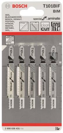 Лобзиковая пилка Bosch T 101 BIF BIM 5 шт 2608636431 bosch t 101 bf bim