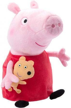 Мягкая игрушка свинка Peppa Pig Пеппа с игрушкой 40 см розовый красный текстиль мягкая игрушка peppa pig джордж с машинкой свинка розовый текстиль 18 см 29620