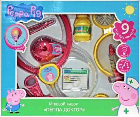 Игровой набор Peppa Pig Пеппа доктор 9 предметов свет, звук 29924 peppa plays football