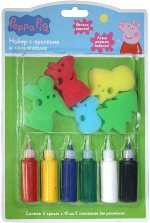 Набор для творчества РОСМЭН набор с красками и спонжиками, Peppa Pig от 3 лет 31074 набор для аппликаций росмэн миньоны от 3 лет 27148