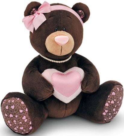 Мягкая игрушка медведь ORANGE Choco Milk с сердцем 25 см коричневый искусственный мех  M003/25 orange milk медвежонок девочка с сердцем