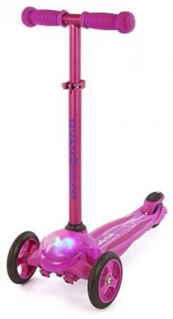 Самокат трехколёсный Moby Kids управление наклоном, свет пурпурный 64962