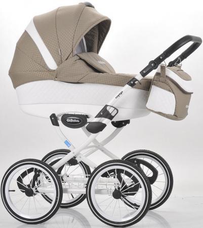 Коляска 2-в-1 Mr Sandman Voyage Premium (50% кожа/белый перфорированный - темно-бежевый в принт/CH05) коляска mr sandman guardian 2 в 1 графит серый kmsg 043601