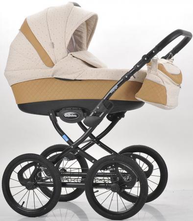 Коляска для новорожденного Mr Sandman Voyage Premium (50% кожа/темно-бежевый перфорированный - бежевый в принт/CH07)