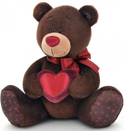 Мягкая игрушка медведь ORANGE Choco Milk с сердцем 20 см коричневый искусственный мех orange orange мягкая игрушка пудель молли 35 см