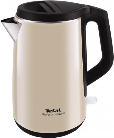 Чайник Tefal KO371 I30 Safe to touch 2200 Вт чёрный бежевый 1.5 л металл/пластик чайник tefal ko 371 safe to touch