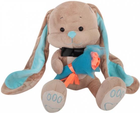 Мягкая игрушка заяц Jack Lin Зайчик Жак с букетом 25 см бежевый плюш искусственный мех пластик JL-013-25 игрушка мягкая jack and lin зайка лин черничный пудинг 25см jl 021 25