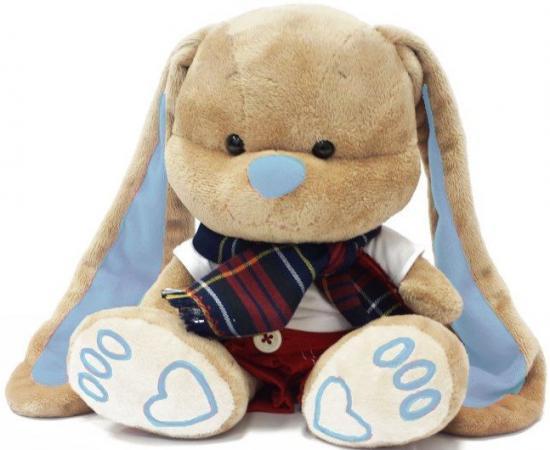 Мягкая игрушка заяц Jack Lin Зайчик Жак в красных штанишках с шарфом 25 см бежевый искусственный мех пластик текстиль JL-011-25 игрушка мягкая jack lin зайка jl 003 25
