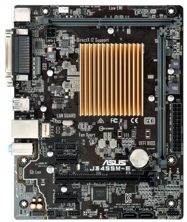 Материнская плата ASUS J3455M-E с процессором Intel 2xDDR3 1xPCI-E 16x 2xPCI-E 1x 2xSATAIII mATX материнская плата asus h81m r c si s1150 intel h81 2xddr3 1xpci e 16x matx retail