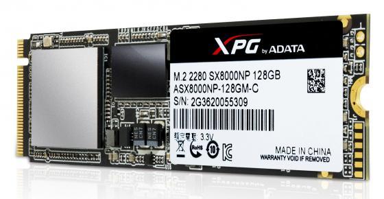 Твердотельный накопитель SSD M.2 128GB A-Data XPG SX8000 Read 1000Mb/s Write 300Mb/s PCI-E ASX8000NP-128GM-C ssd накопитель a data xpg sx7000 asx7000np 256gt c 256гб m 2 2280 pci e x4