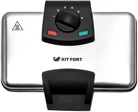 цена на Вафельница KITFORT KT-1606 серебристый чёрный