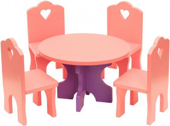 Набор мебели Краснокамская игрушка Столик с четырьмя стульчиками КМ-03 краснокамская игрушка развивающая пирамидка кольцевая