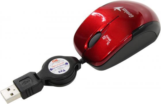 лучшая цена Мышь проводная Genius Micro Traveler V2 (31010125103) красный USB