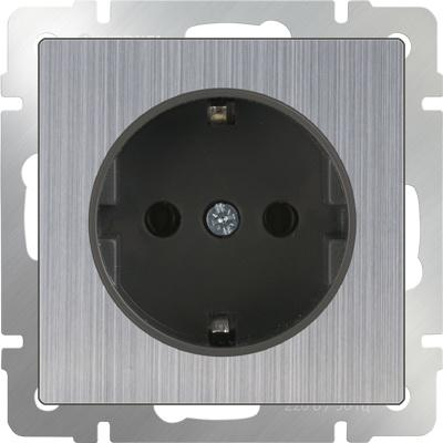 Розетка с заземлением и шторками глянцевый никель WL02-SKGS-01-IP44 4690389075810