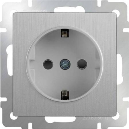 Розетка с заземлением серебряная рифленая WL09-SKG-01-IP20 4690389085079 акустическая розетка werkel серебряная рифленая wl09 audiox4