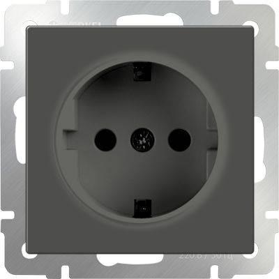 Розетка с заземлением серо-коричневая WL07-SKG-01-IP20 4690389054051 розетка abb bjb basic 55 шато 2 разъема с заземлением моноблок цвет чёрный