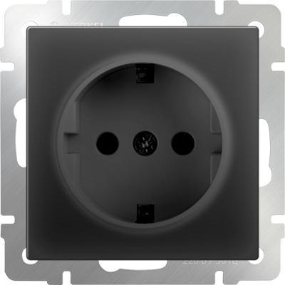 Розетка с заземлением черный матовый WL08-SKG-01-IP20 4690389054211