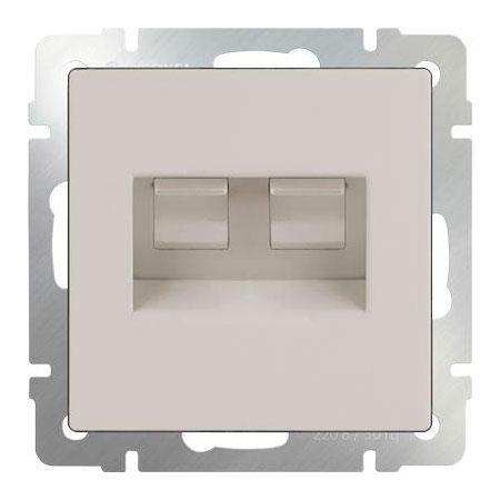 Розетка телефонная RJ-11 и Ethernet RJ-45 слоновая кость WL03-RJ11-45-ivory 4690389046278 телефонная розетка abb bjb basic 55 шато 1 разъем цвет черный