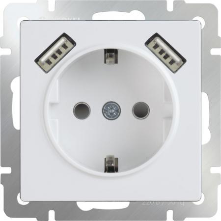 Розетка с заземлением, шторками и USBx2 белая WL01-SKGS-USBx2-IP20 4690389073199