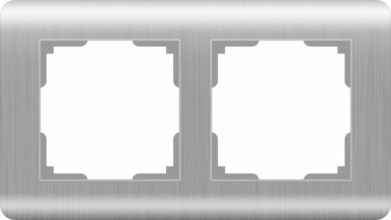 Рамка Stream на 2 поста серебряный WL12-Frame-02 4690389076374