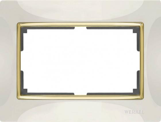 Рамка Snabb для двойной розетки слоновая кость/золото WL03-Frame-01-DBL-ivory/GD 4690389083853  цена и фото