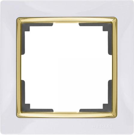 Рамка Snabb на 1 пост белый/золото WL03-Frame-01-white/GD 4690389083877 werkel рамка snabb на 1 пост белая werkel wl03 frame 01 white 4690389046100