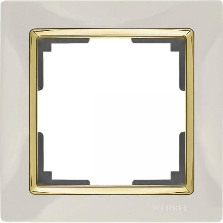 Рамка Snabb на 1 пост слоновая кость/золото WL03-Frame-01-ivory/GD 4690389083860 werkel рамка snabb на 1 пост слоновая кость золото werkel wl03 frame 01 ivory gd 4690389083860