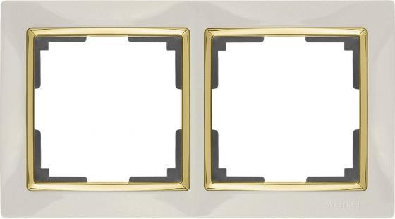 Рамка Snabb на 2 поста слоновая кость/золото WL03-Frame-02-ivory/GD 4690389083891