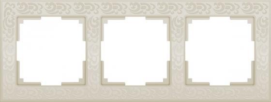 Рамка Flock на 3 поста слоновая кость WL05-Frame-03-ivory 4690389046926