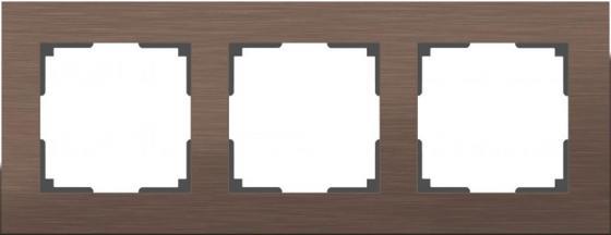Рамка Aluminium на 3 поста алюминий коричневый WL11-Frame-03 4690389073700 рамка aluminium на 3 поста алюминий черный wl11 frame 03 4690389110467