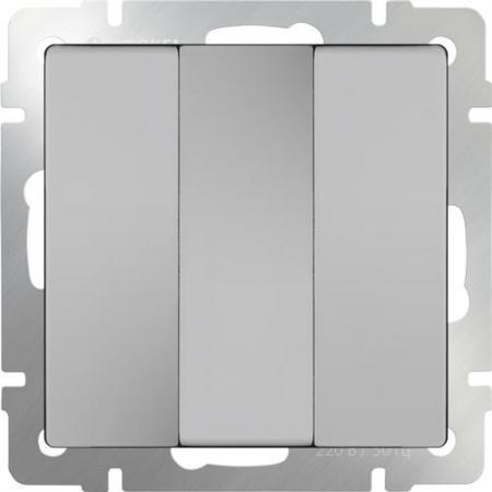 Выключатель трехклавишный серебряный WL06-SW-3G 4690389073441