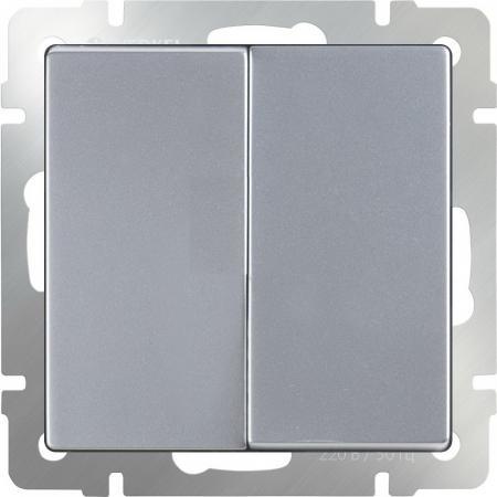 Выключатель двухклавишный проходной серебряный рифленый WL09-SW-2G-2W 4690389085154 выключатель двухклавишный проходной серебряный рифленый wl09 sw 2g 2w 4690389085154