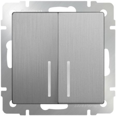 Выключатель двухклавишный с подсветкой серебряный рифленый WL09-SW-2G-LED 4690389085178