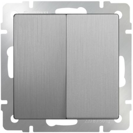 Выключатель двухклавишный серебряный рифленый WL09-SW-2G 4690389085147